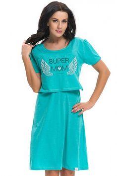 Zelená noční košile na kojení s krátkým rukávem Casual, Dresses, Fashion, Vestidos, Moda, Fashion Styles, Dress, Fashion Illustrations, Gown