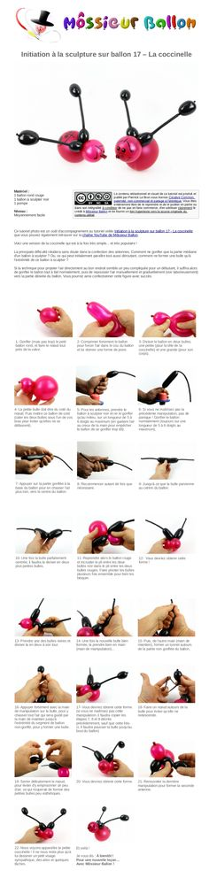 PDF Guide: Balloon Twisting From Scratch 17 - The Ladybug Easy Balloon Animals, Ballon Animals, Balloon Decorations Party, Balloon Ideas, Baloon Art, Fun Crafts For Kids, Boy Birthday Parties, Craft Party, Balloons