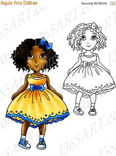 50% OFF African American Clipart, Black girl, Digital Stamp, Coloring Page, Illustration, For Children, Cute, Summer Dress, Anime Chibi Download by I365art