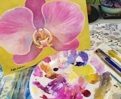 Orchid Acrylic Painting Tutorial on YouTube by Angela Anderson #orchid #AcrylicPainting #angelafineart #acryliconcanvas