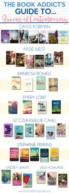 Who are you favorite Queens of Contemporary? Gayle Forman, Kasie West, Rainbow Rowell, and more top the list at The Book Addict's Guide!