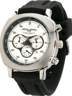 Jorg Gray JG3505 Men's Watch Silver Dial Chronograph Black Rubber Strap