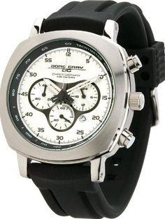 Jorg Gray JG3505 Men's Watch Silver Dial Chronograph Black Rubber Strap