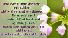 Îmânınızın seviyesi hangi kademedeyse Allahû Tealâ binayı o kademe üzeri.