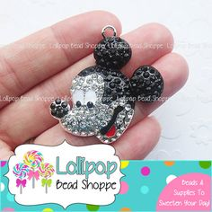 40mm MICKEY MOUSE Rhinestone Pendant Mouse Pendant Chunky Necklace Pendant Crystal Pendants Bling Pendants Bubblegum Beads Bubble Gum Beads