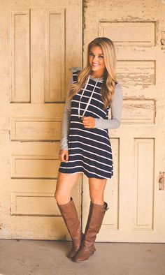 Dottie Couture Boutique - Hooded Tunic Dress- Navy , $36.00 (http://www.dottiecouture.com/hooded-tunic-dress-navy/)