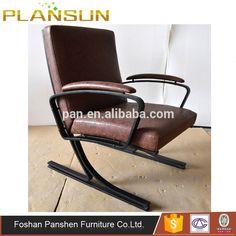 Luxury hotel furniture stainless steel frame Berlin leather armchair by Meinhard von Gerkan