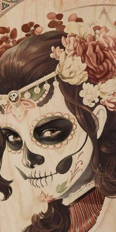 Ancient Warrior Girl w/ Face Paint, Flowers, & Jewelry Skull - Plywood Wood Print Poster Wall Art