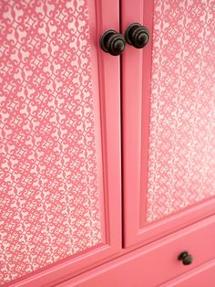 Stenciled Armoire Doors painted using die-cut scrapbook paper and a foam pouncer brush