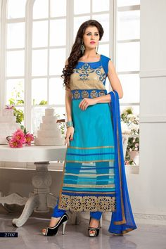 Sky Blue Color Net Salwar Kameez Dress Material