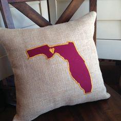 Love FLORIDA STATE FSU Garnet and Gold Burlap by Pillowtalkbysara