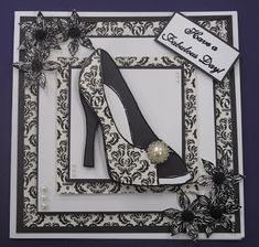 Hi Crafters, Todays card has been made using my Large Shoe Stamp, I really like how you can dress this shoe up with lots of glitter a. 18th Birthday Cards, Handmade Birthday Cards, Chloes Creative Cards, Stamps By Chloe, Tattered Lace Cards, Dress Card, Fancy Fold Cards, Beautiful Handmade Cards, Easel Cards