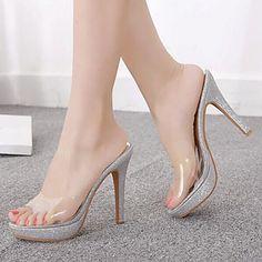 Calçados Femininos - Sandálias / Chinelos - Saltos / Peep Toe / Plataforma - Salto Agulha - Transparente - Borracha -Escritório & de 2016 por R$152,36