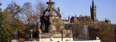 Stewart Memorial Fountain. Category A listed, James Sellars, 1872; Repairs by GBPT, 1988 and by Glasgow City Council, 2009.