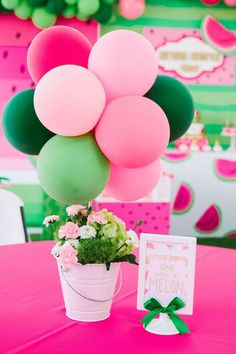 ONE in a MELON Modern Watermelon Birthday Party Watermelon-inspired Floral Balloon Table Centerpiece from a ONE in a MELON Modern Watermelon Birthday Party on Kara s Party Ideas First Birthday Theme Girl, 1st Birthday Party Themes, First Birthday Decorations, Birthday Bash, Happy Birthday, Birthday Ideas, Geek Birthday, Princess Birthday, Birthday Themes For Girls