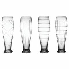 """Set of 4 pilsner glasses with etched designs.      Product: 4-Piece pilsner glass setConstruction Material: GlassColor: ClearDimensions: 9.25"""" H x 3.25"""" Diameter each Cleaning and Care: Dishwasher safe"""