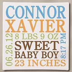 Baby Information Canvas - Blue - 11x11