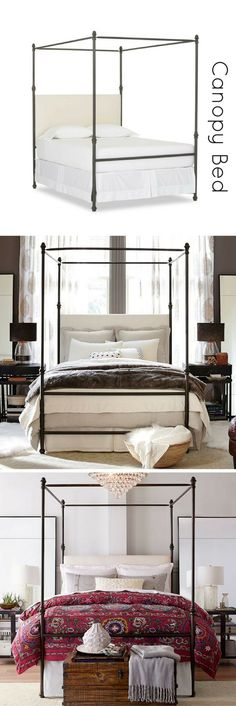 A fresh interpretation of the classic canopy bed | Steel frame | Canopy Bed | Bedroom Decor | Home Decor | Sponsored #homedecor #bedroom