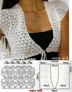 bolero crochet pattern, measures can be used olso for sewing.