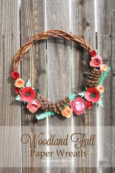 DIY Woodland Fall Paper Wreath made with Cricut Explore -- Laura's Crafty Life. #DesignSpaceStar Round 4