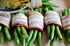 Green Beans wrapped in bacon! Just gotta find the right kind of bacon..