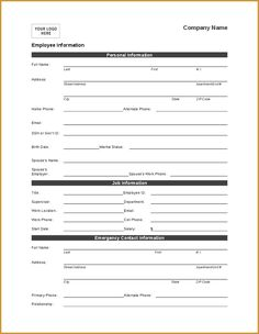 Employee Directory And Contact List Form  Template