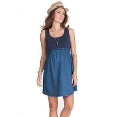 Chambray Denim & Navy Maternity Skater Dress. Seraphine.com