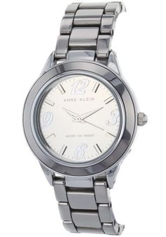 Price:$111.25 #watches Anne Klein 10-9355TMTC, Stainless steel case, Ceramic bracelet, Grey dial, Quartz movement, Scratch-resistant mineral, Water resistant up to 3 ATM - 30 meters - 100 Feet Anne Klein, Stainless Steel Case, Michael Kors Watch, Chronograph, Bracelet Watch, Mineral Water, Quartz Watches, Ceramics, Bracelets