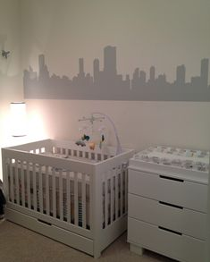 Recreate this cityscape wall by hand or custom decal.  #gray #nursery #citydecal