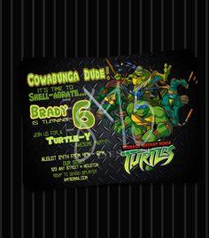 Digital Printable Kids Ninja Turtle Birthday Invitation