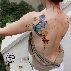 Fantastic Watercolor Tattoo by Tayfun Bezgin. #inked #inkedmag #tattoo…