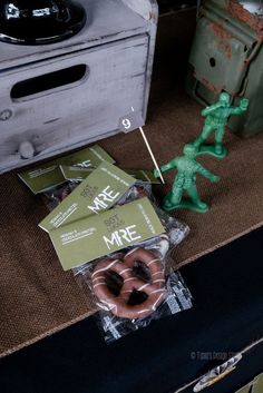 Chocolate pretzel MRE from Army Birthday Party at Kara's Party Ideas. See more at http://karaspartyideas.com!