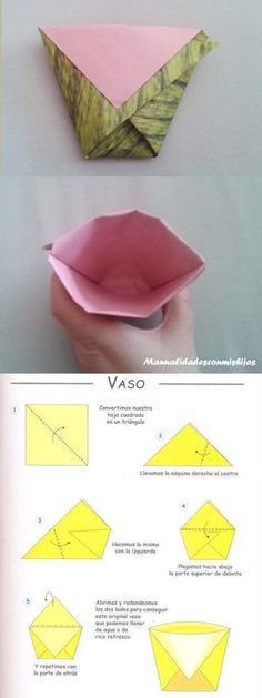 Vaso de agua de papel - origami - papiroflexia