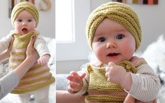 Darling Dress and Turban. Baby turban, what a great idea. This is from Pickles, a great website in Norway. Free pattern, in English! Knitting For Kids, Easy Knitting, Baby Knitting Patterns, Knitting Projects, Baby Turban, Turban Hat, Knit Or Crochet, Crochet Baby, Knit Baby Dress