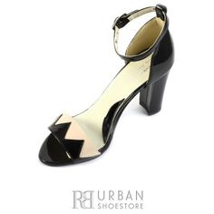 Sandale elegante din lac - 160 negru-bej