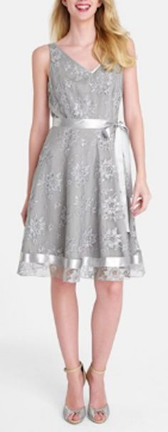 Metallic lace fit & flare dress http://rstyle.me/n/j3grdnyg6