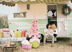 Vintage holiday anniversary with an adorable trailer + pink Christmas tree
