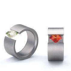Niessing - Tension Ring - Steel & Lab Grown Stone Acrobat - ORRO Contemporary Jewellery Glasgow - www.orro.co.uk