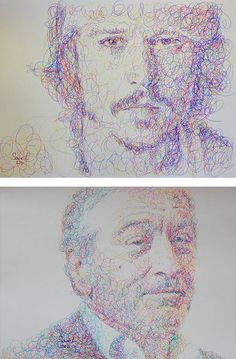 "Twin brothers and artists, Sergei Vyacheslav Savelyev, who go by the collective name ""SaveL"", create beautiful portraits of celebrities using a very unique doodling style that resembles scribbles. The multi-coloured ink scribbles add an incredible amount of depth and visual interest – we like them more than the monochromatic ink scribbles, but truly, all of these portraits works are impressive."