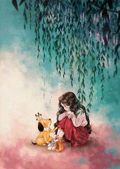 When you feel sad by aeppol cover trong 2019 anime art, anime art girl và a Cartoon Kunst, Cartoon Art, Fantasy Kunst, Fantasy Art, Art And Illustration, Illustrations, Her Wallpaper, Forest Girl, Girl And Dog