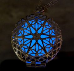 Blue Frozen Glowing Necklace - Glow in the Dark - Glowing Jewelry - Glow Pendant - Circle - Gifts for Her - READY TO SHIP