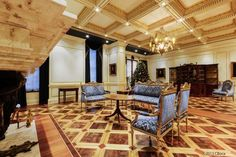 gold leaf coffered ceiling | The coffered ceiling the grand living room features 14-karat gold leaf ...