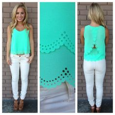 Mint Scallop Cut Sleeveless Blouse on Wanelo  Wish I could pull this off!! So cute!
