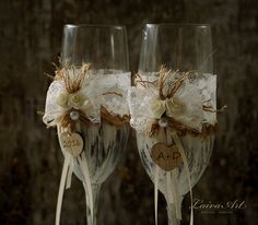 #wedding #champagne #flutes #toasting #glasses #rustic #toasting #flutes…