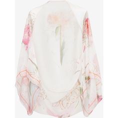 Sketchbook Floral silk cape ($130) ❤ liked on Polyvore featuring ted baker