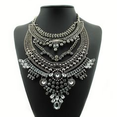 Bohemian Statement Necklaces Vintage Silver Choker Collar Necklace for Women Gifts,Gipsy Style Crystal Necklaces & Pendants