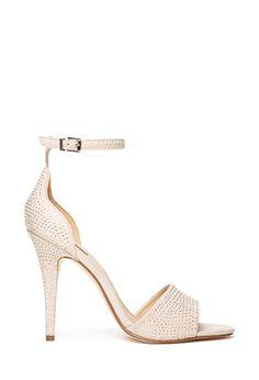 Beige White Studded Embellished Ankle Strap Heels Sandals   FOREVER21 - 2000100940 $35