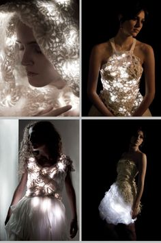LED Lighting in a hood (top left photo) Light Up Dresses, Light Dress, Weird Fashion, Fashion Show, Fashion Outfits, Fashion Design, E Textiles, Future Fashion, Designer Dresses