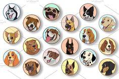 Set purebred dogs - Illustrations - 1