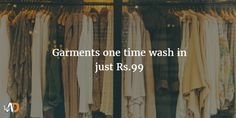 Rs.99 for 6 Garments one time premium Wash & Fragranced Iron with FREE Pick up& Delivery worth Rs.166/-